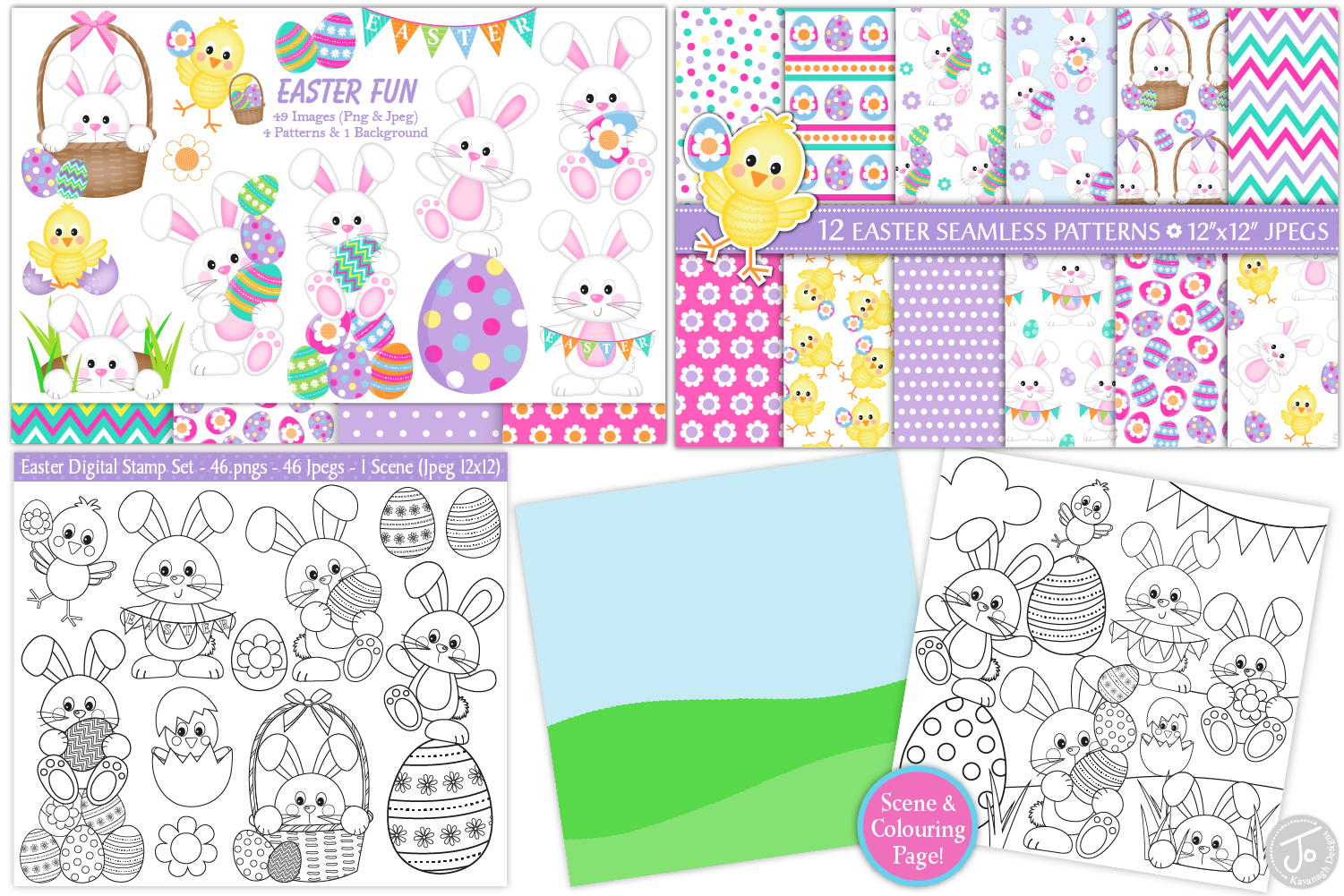easter bundle, Easter bunny graphics and illustrations example image 3