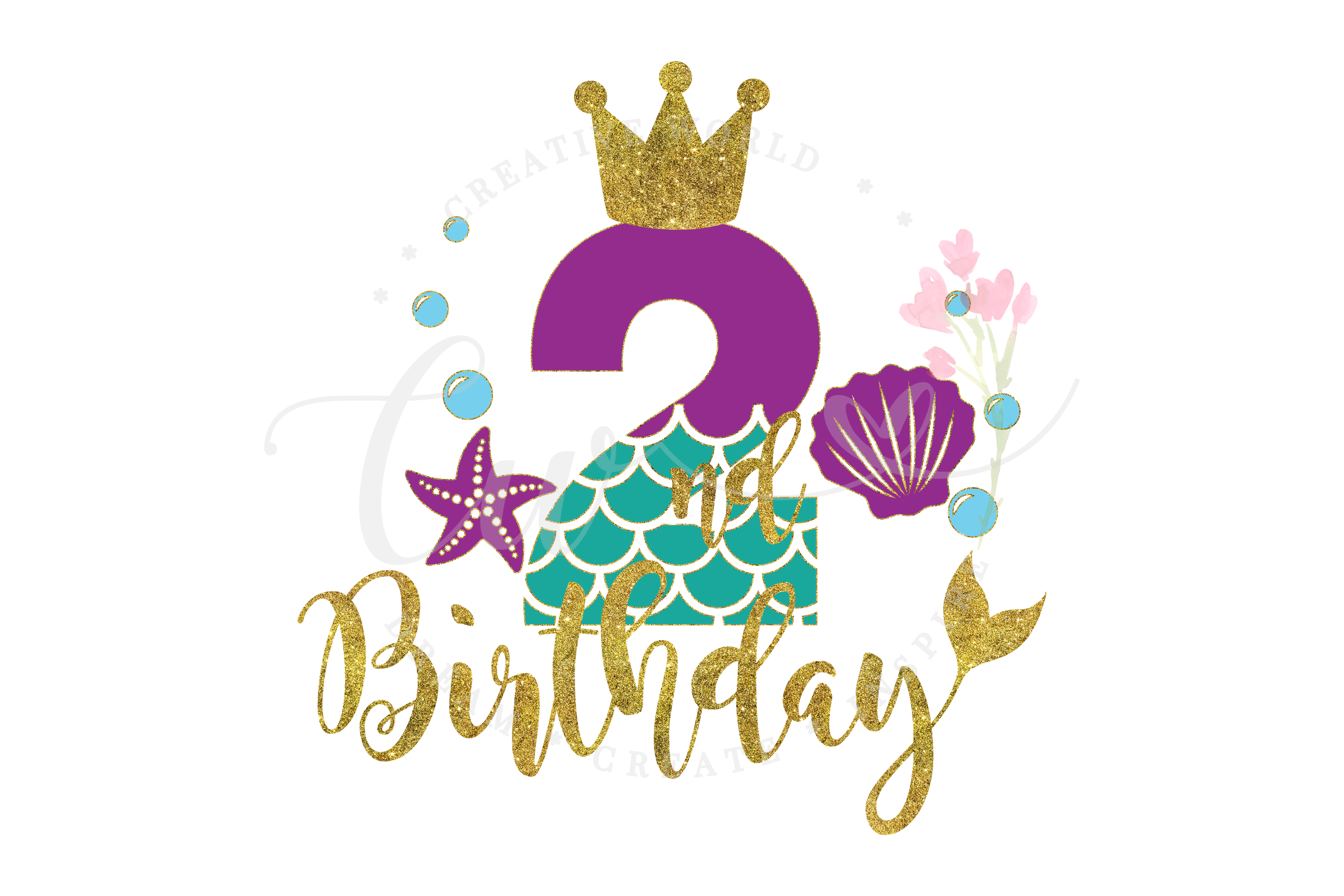 My 2nd Birthday Mermaid SVG | Mermaid SVG | Mermaid Birthday example image 1