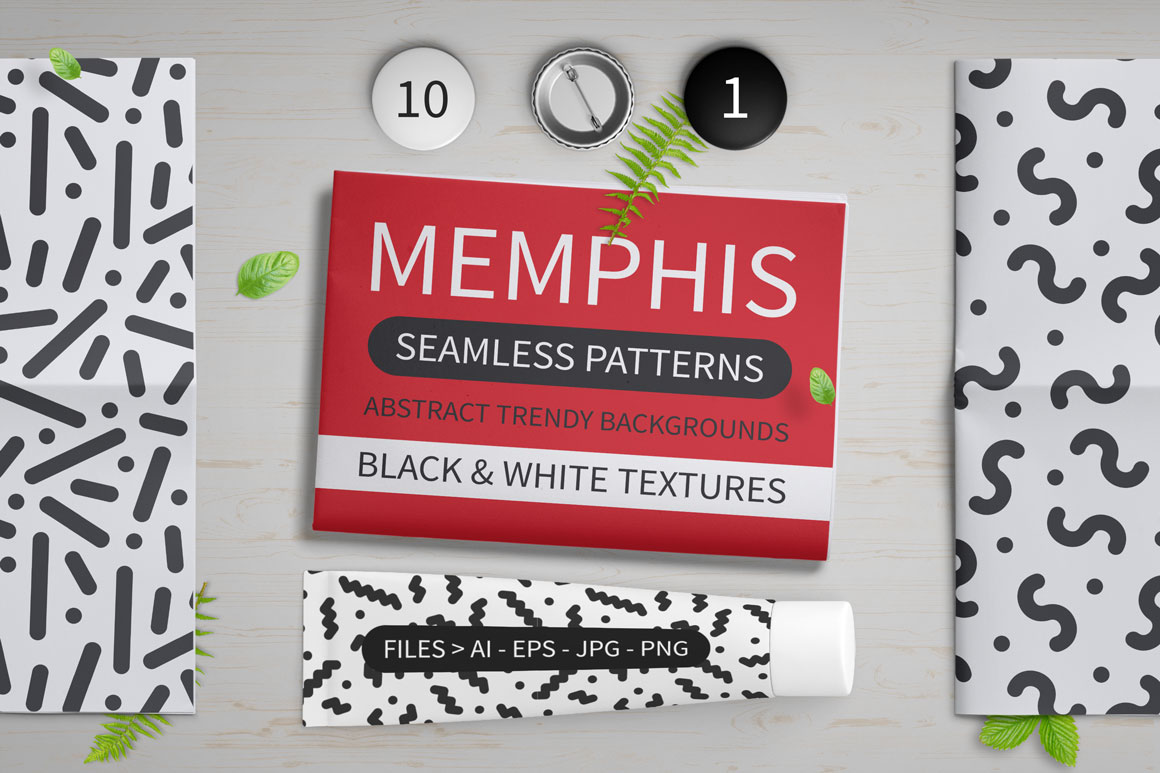 Trendy memphis seamless patterns example image 2