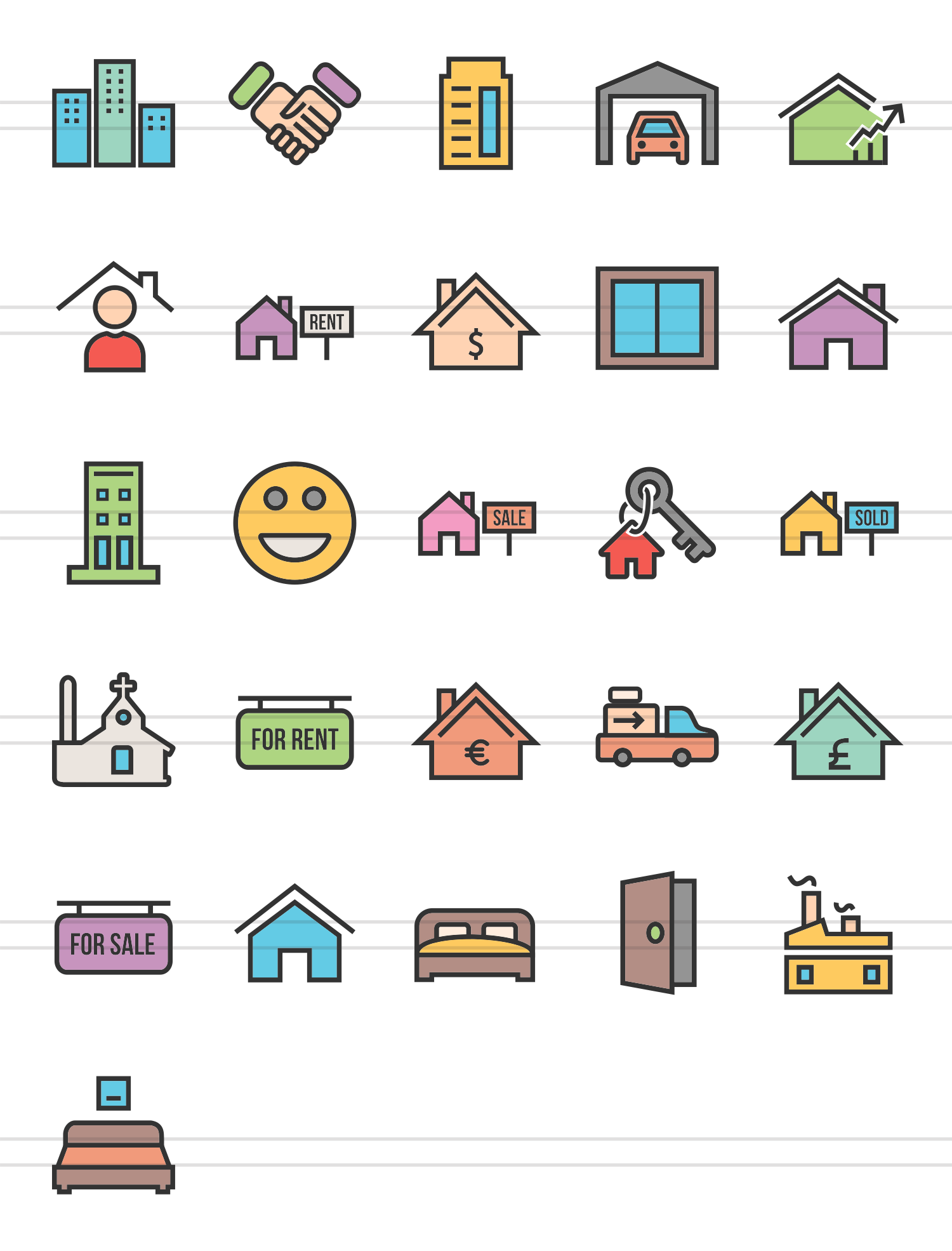 26 Real Estate Linear Multicolor Icons example image 2