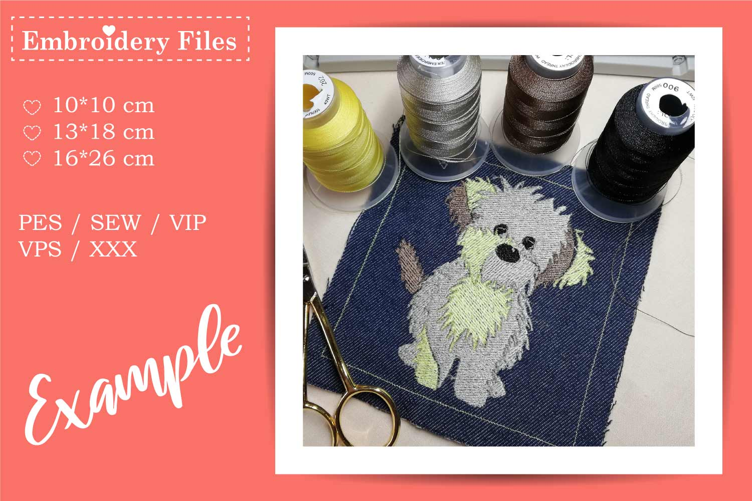 Cute little Dog - Embroidery File for Beginners example image 1