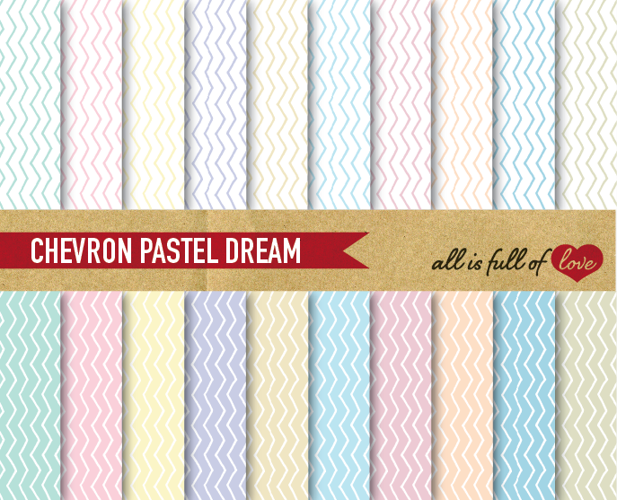 Chevron Digital Paper in Pastel Colors Background Paper Zig Zag Patterns example image 1