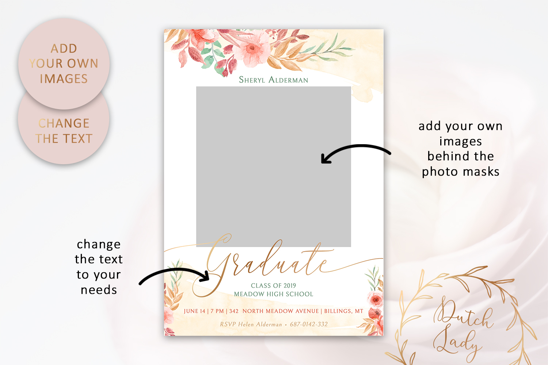 PSD Graduation Announcement Card Template - Design #2 example image 2