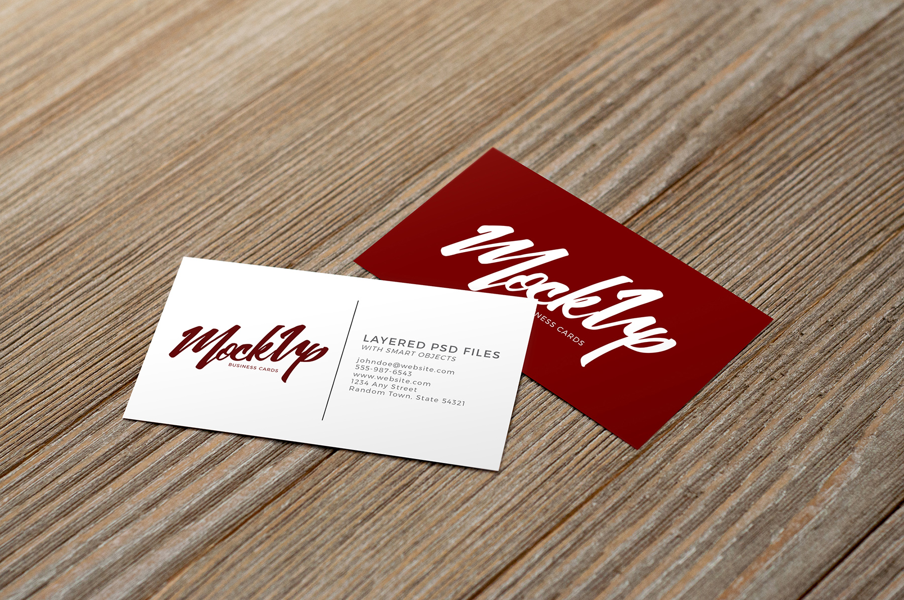 Business Card on Wood Mockup Pack example image 5
