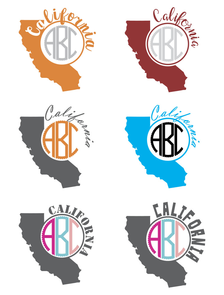 California Monograms SVG, JPG, PNG, DWG, CDR, EPS, AI example image 3