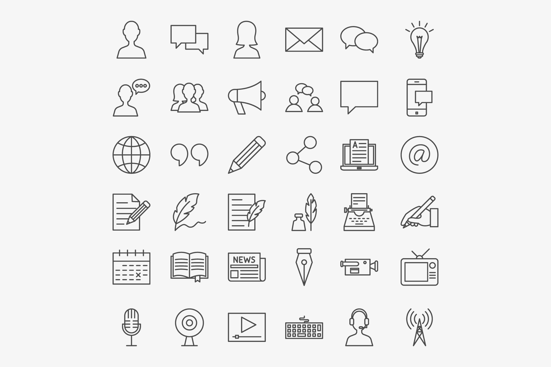 Blog Line Art Icons example image 3