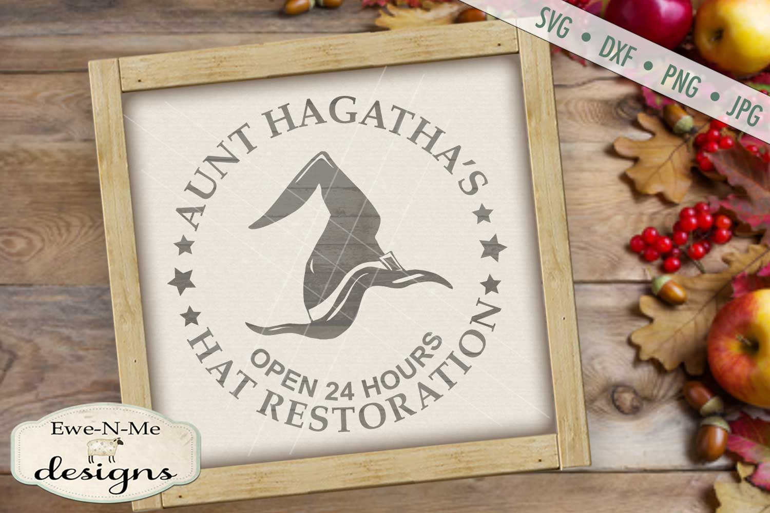 Witch Hat Restoration Aunt Hagatha Halloween SVG DXF Files example image 1