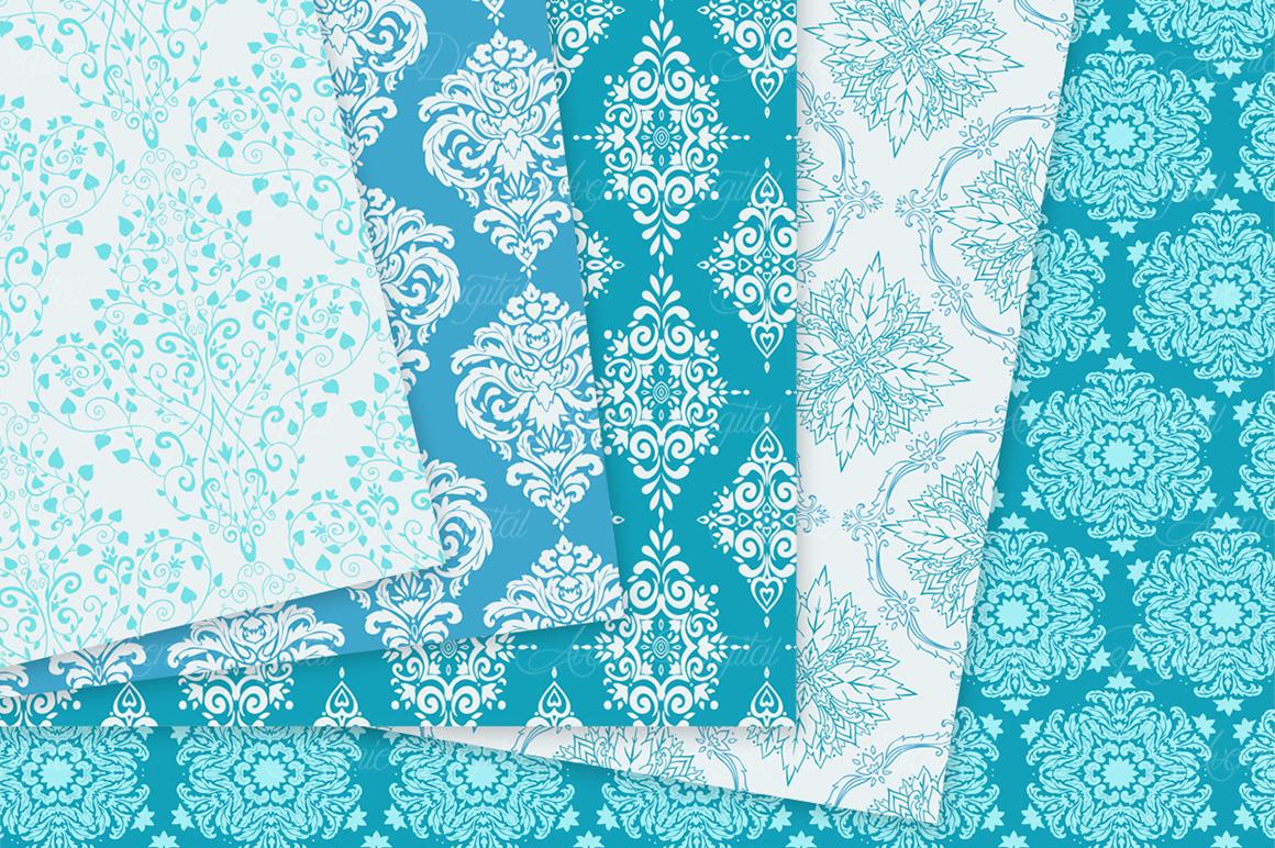 28 Soft Blue Damask Patterns - Seamless Digital Papers Bundle example image 9