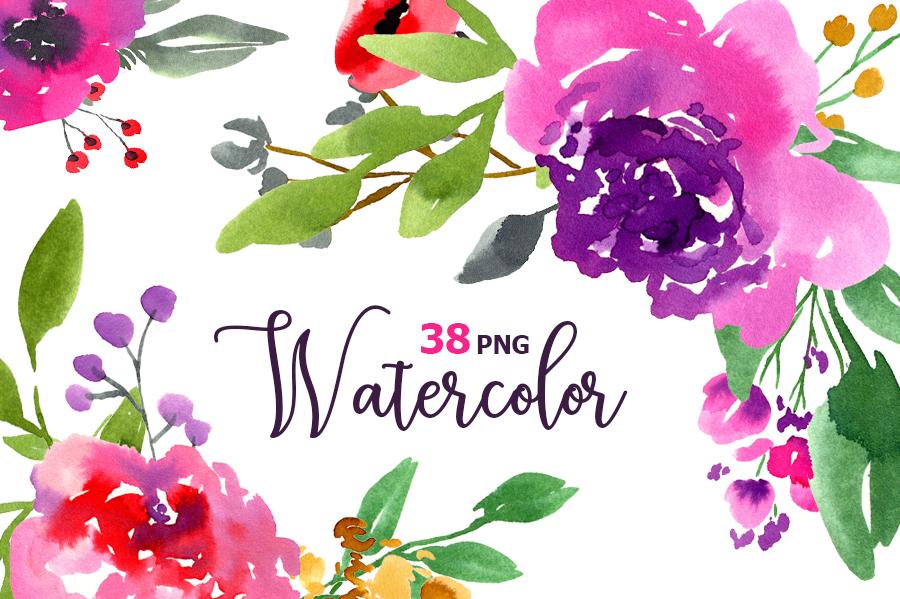 Watercolor violet purple flowers example image 1