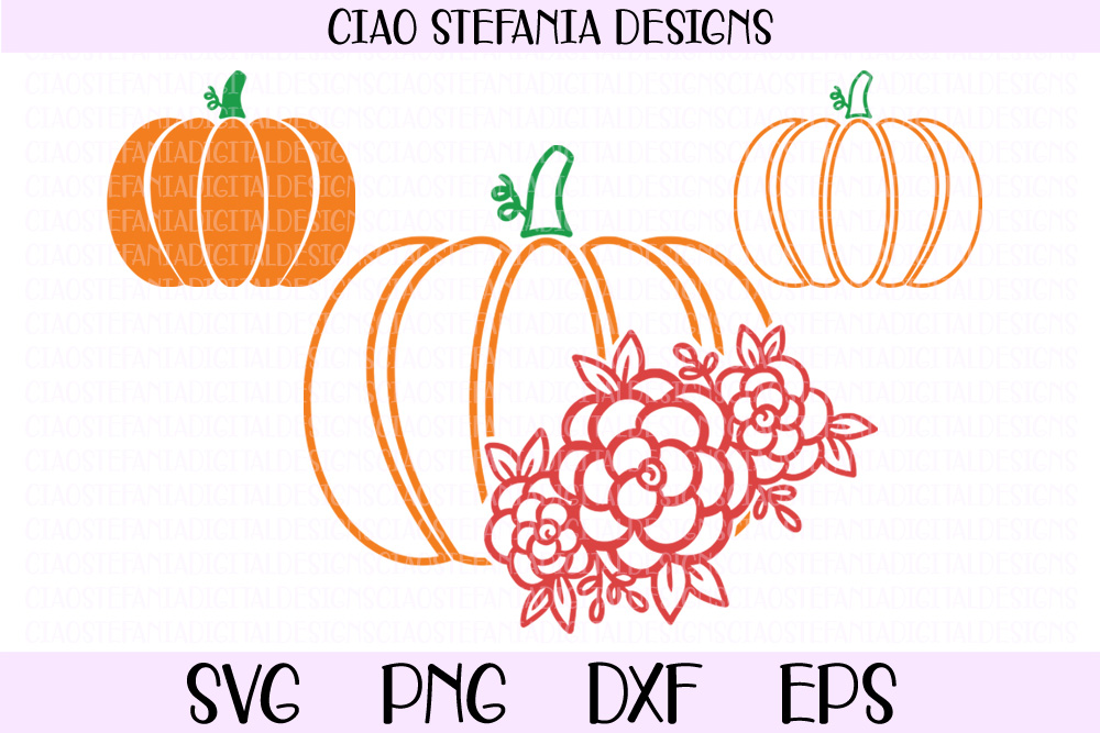 Pumpkin Floral Fall SVG PNG DXF EPS Cut File example image 1