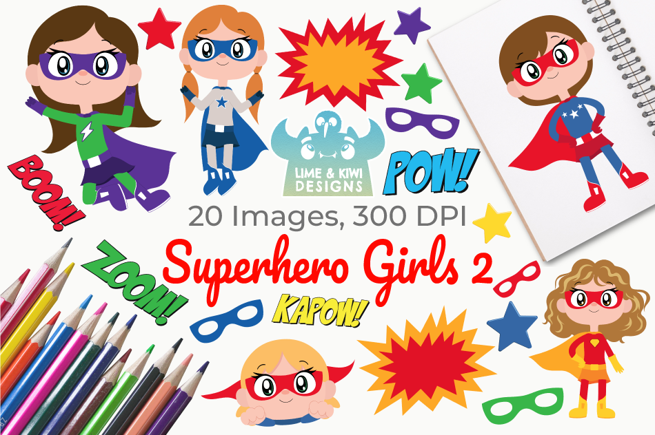 Superhero Girls 2 Clipart, Instant Download Vector Art example image 1