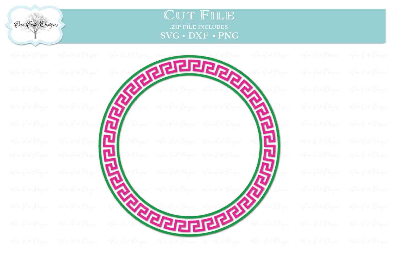 Greek Key Circle Frame for Monogram example image 2