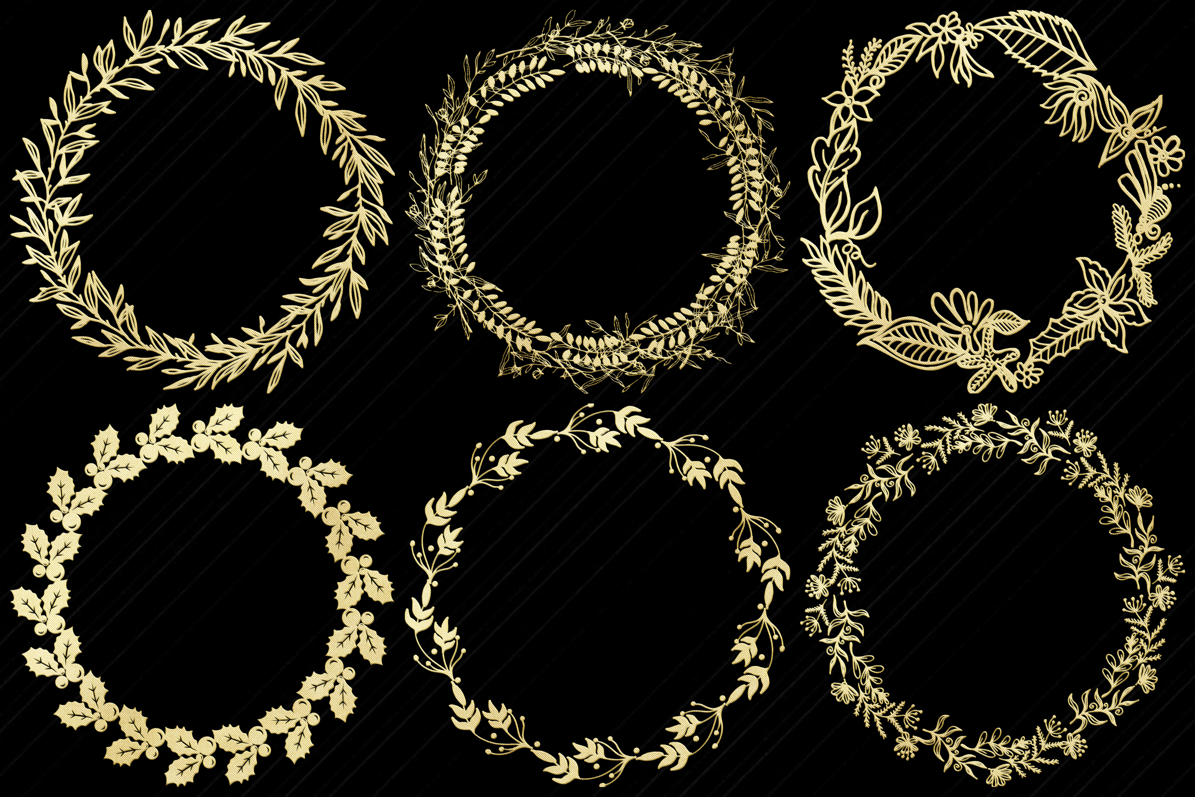 Gold Foil Wreaths Clip Art...Christmas and Other example image 4