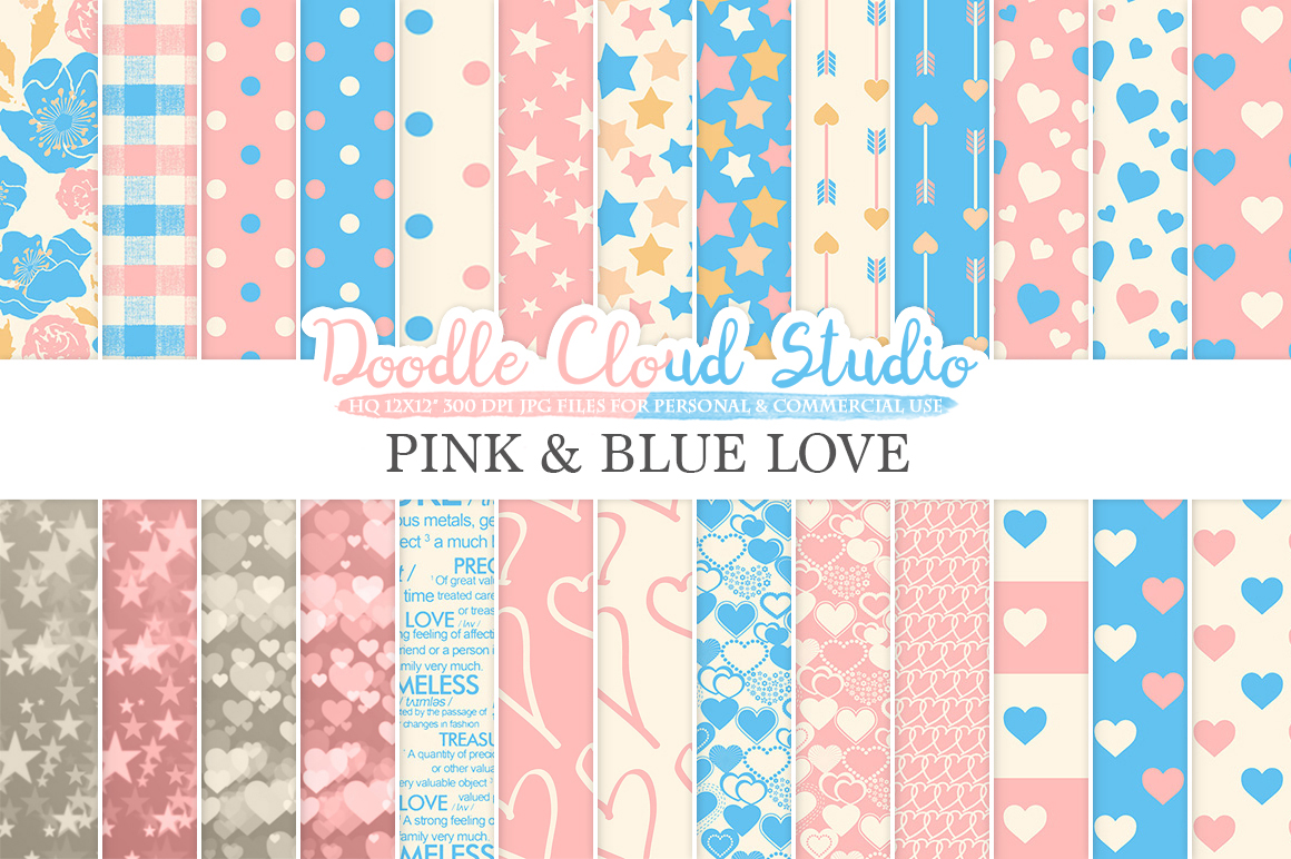 Pink and Blue Romantic digital paper, Valentine's day patterns,  Love, Roses, Romance Heart Azure backgrounds for Personal & Commercial Use example image 1