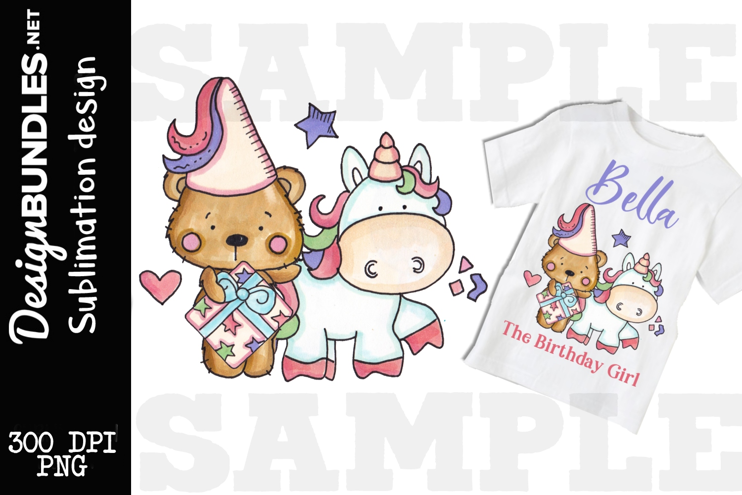 Princess Birthday Bear Sublimation Design example image 1