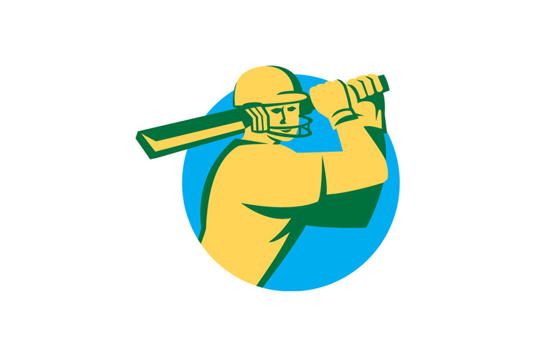 Cricket Player Batsman Batting Circle Retro example image 1