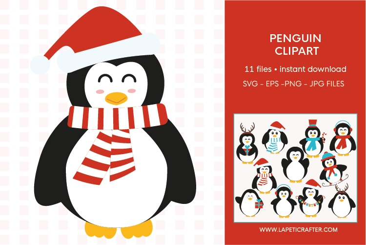 Christmas penguin clipart set, winter animals vector example image 8