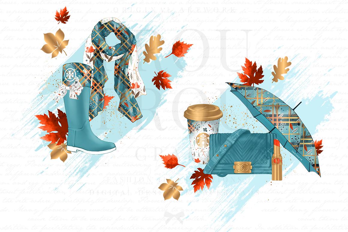 Fall Autumn Leaves Fashion Gold Lipstick Clip Art example image 2