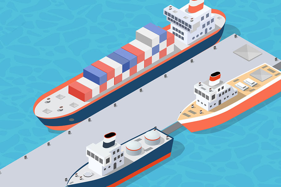 Isometric port cargo ship example image 4