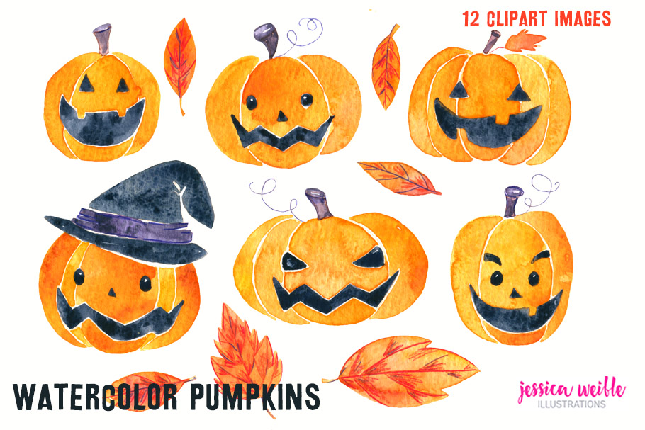 Watercolor Halloween Pumpkins & Leaves example image 3