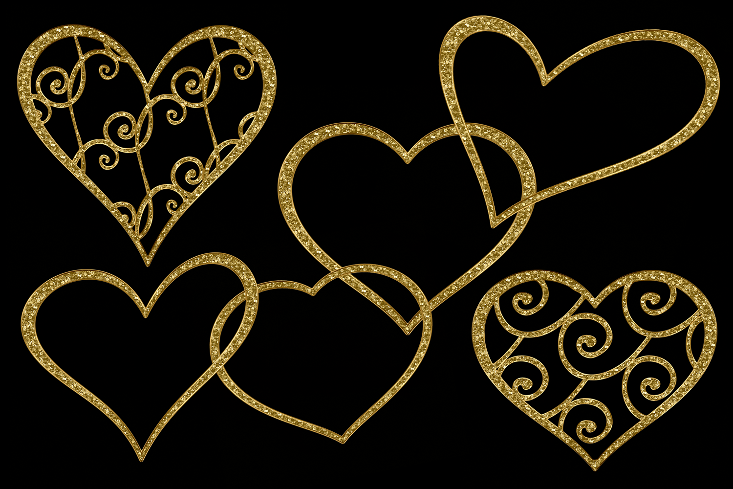 Glittery Gold Hearts example image 2