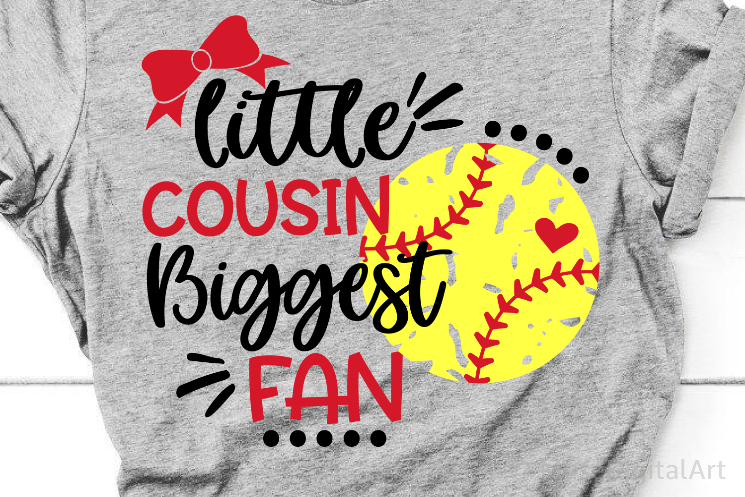 Little Cousin Biggest Fan Svg, Softball Sister Svg, Softball example image 1