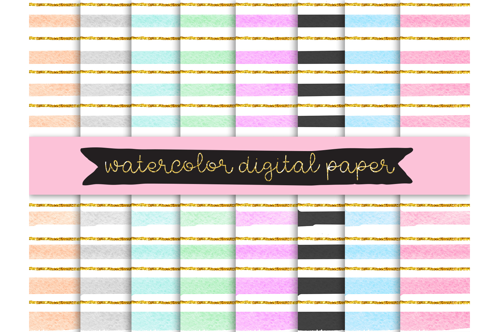 watercolor digital paper, Gold Glitter Confetti Papers, strips Digital Paper, Pastel Color digital paper, hand painted background, Scrapbook example image 1