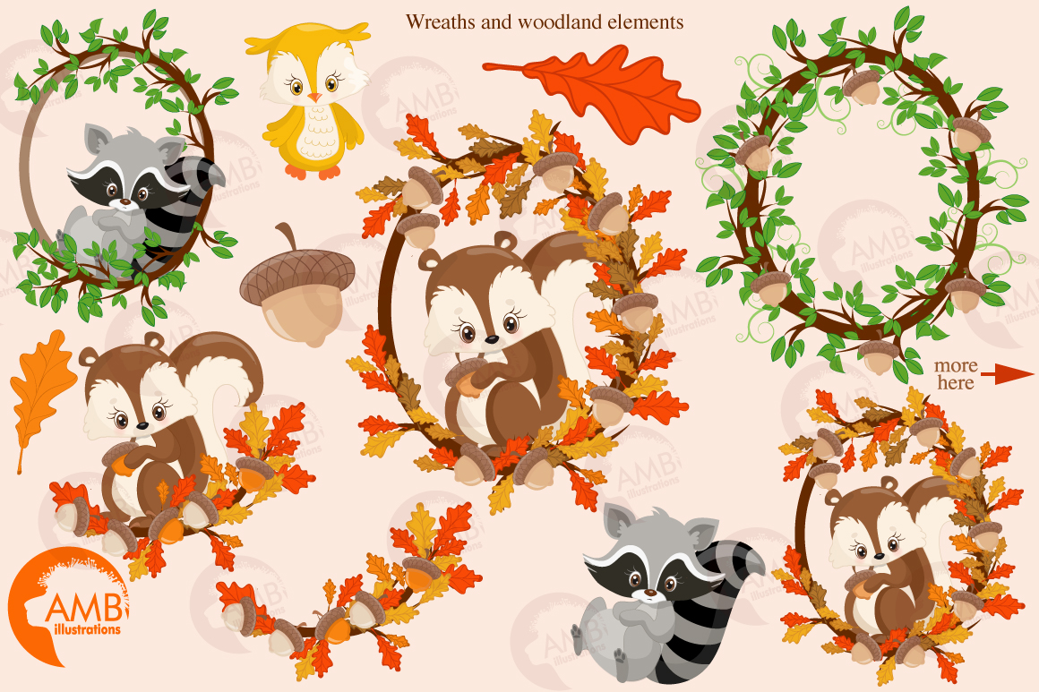 Woodland Critters clipart, graphics and illustrations AMB-1178 example image 5