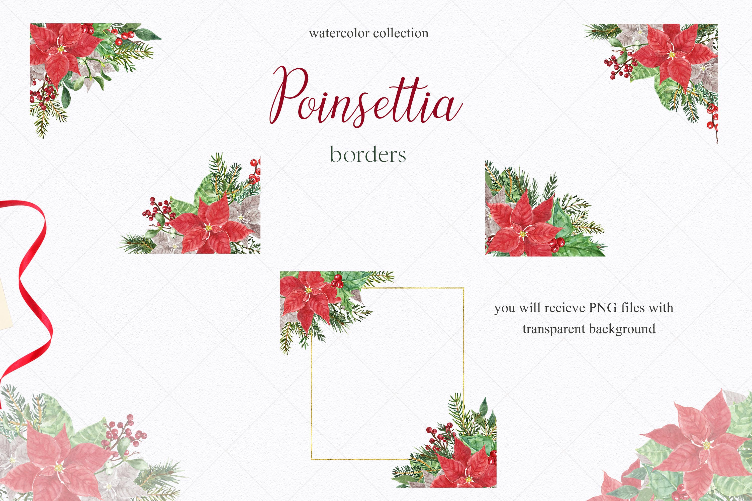 Watercolor Christmas Poinsettia Holiday Wreath Clipart example image 2