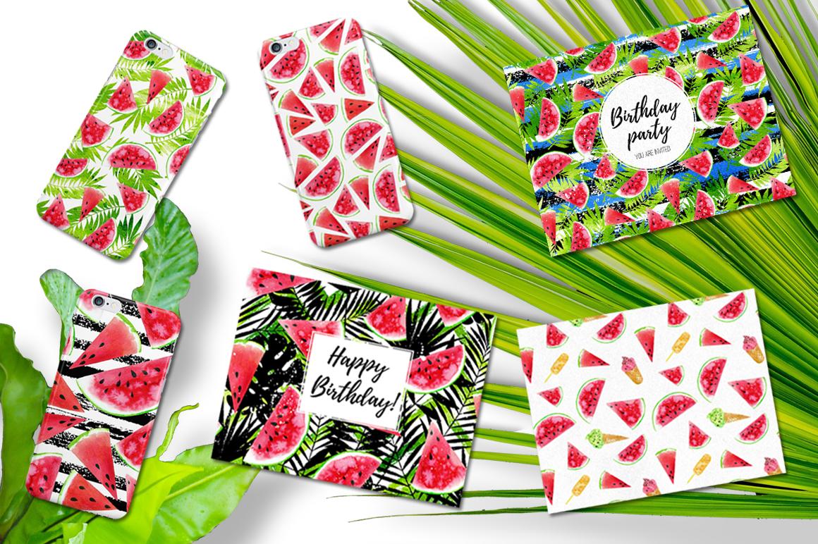 Watercolor Watermelons & Ice-creams example image 5