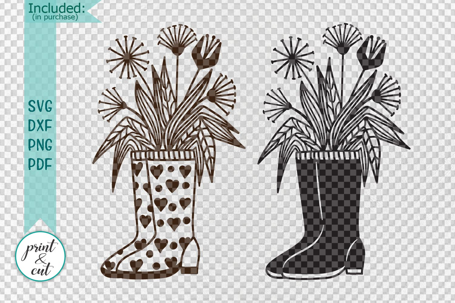 Wellies rain boots with flowers svg dxf cutting templates example image 2
