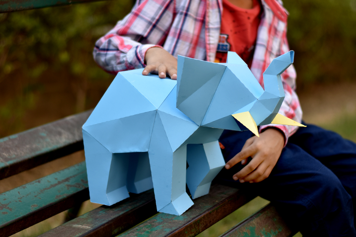 DIY Elephant Sculpture - 3d papercraft example image 1