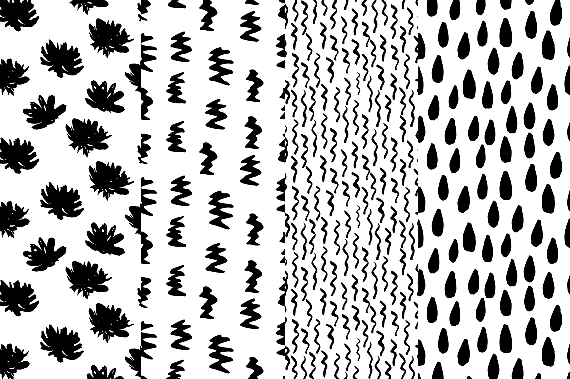 37 monochrome patterns. Hand drawn seamless backgrounds. example image 2