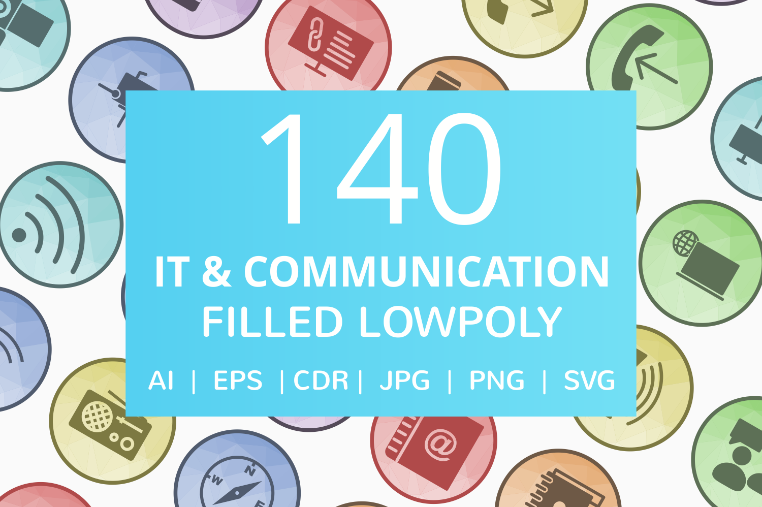 140 IT & Communication Filled Low Poly Icons example image 1