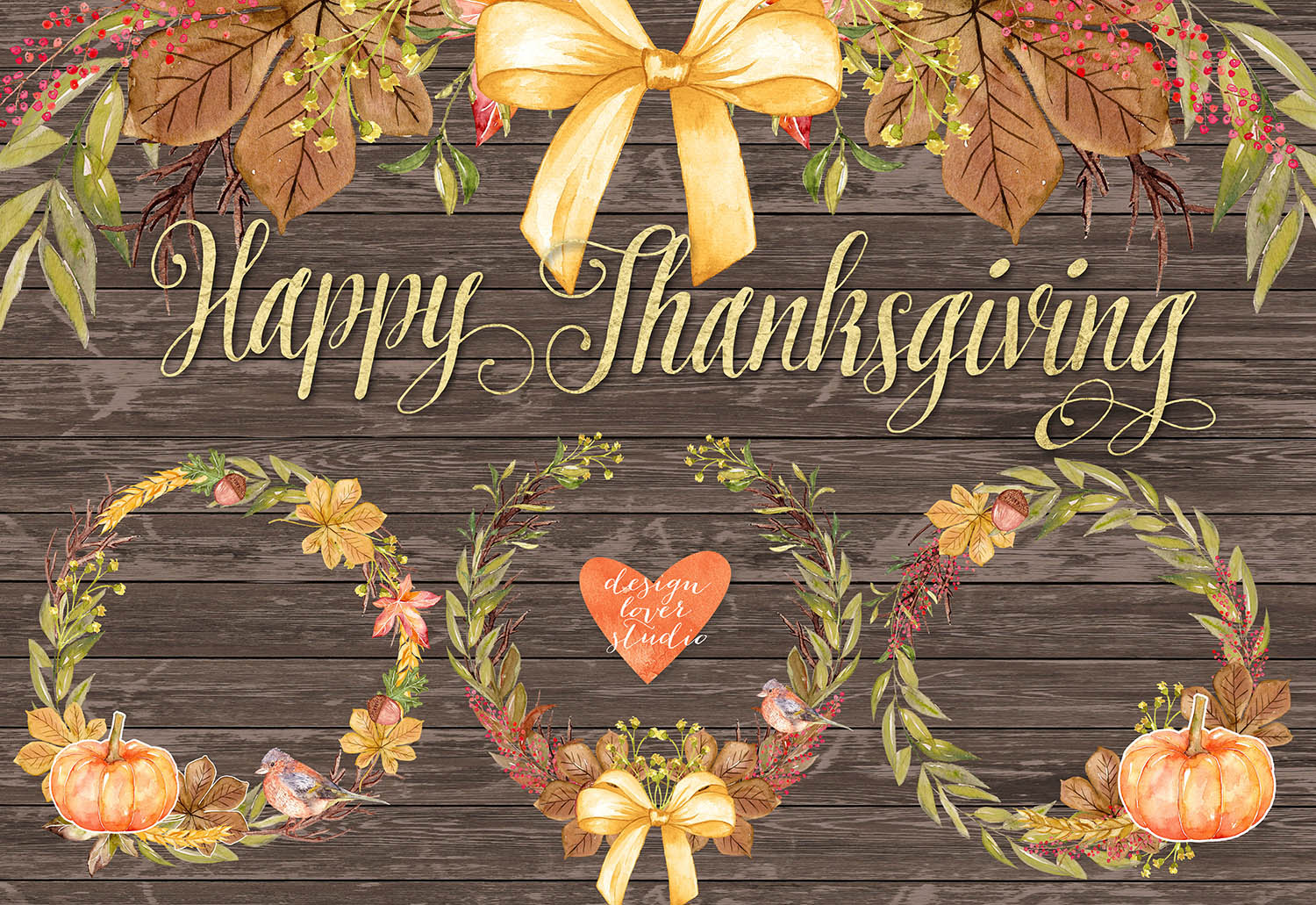 Watercolor Happy Thanksgiving cliparts example image 5