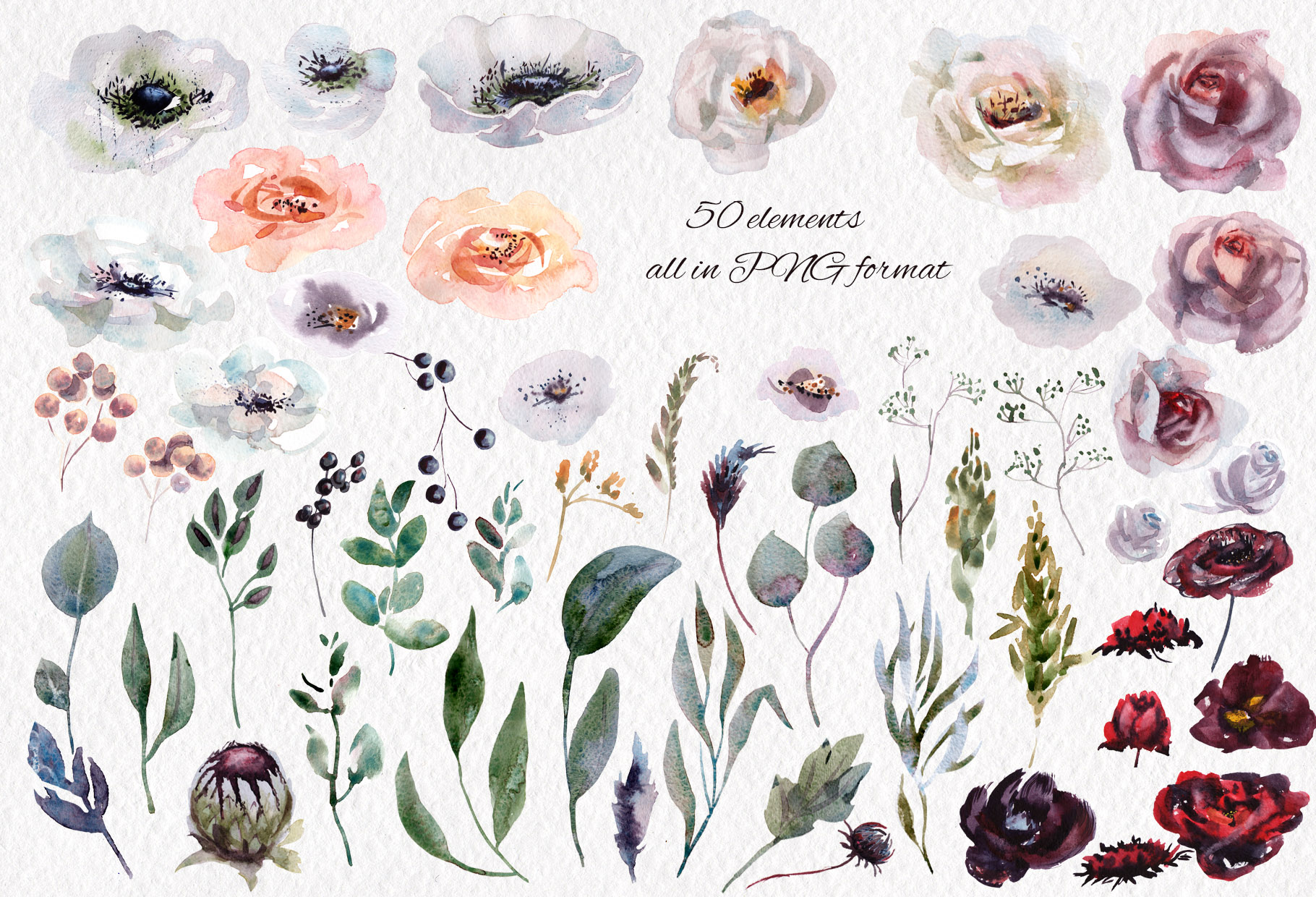 Watercolor flower design clipart example image 8