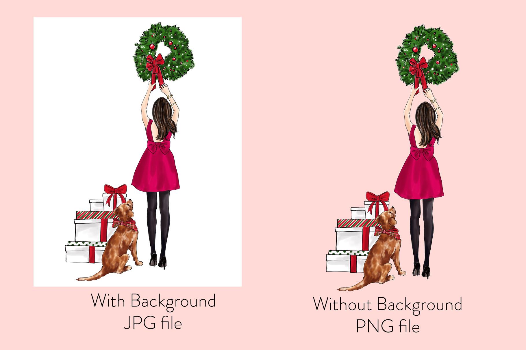 Fashion illustration - Christmas Girl 7 - Brunette example image 2