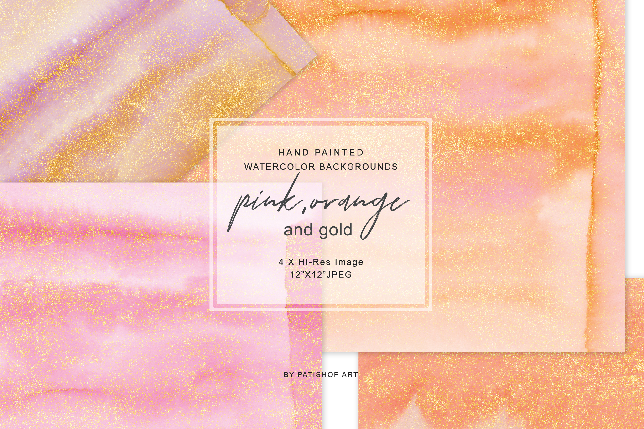 Hand Painted Watercolor Glittered Pink & Orange Backgrounds example image 1