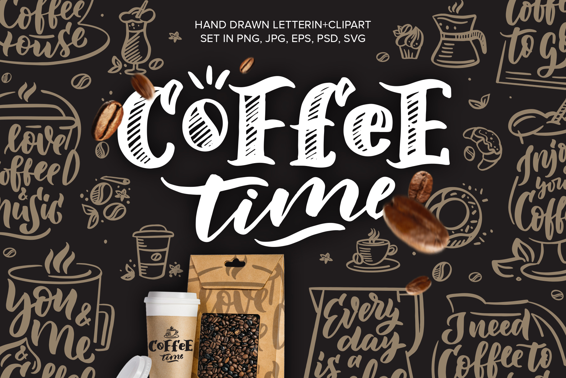 Coffee lettering clipart, vintage example image 1