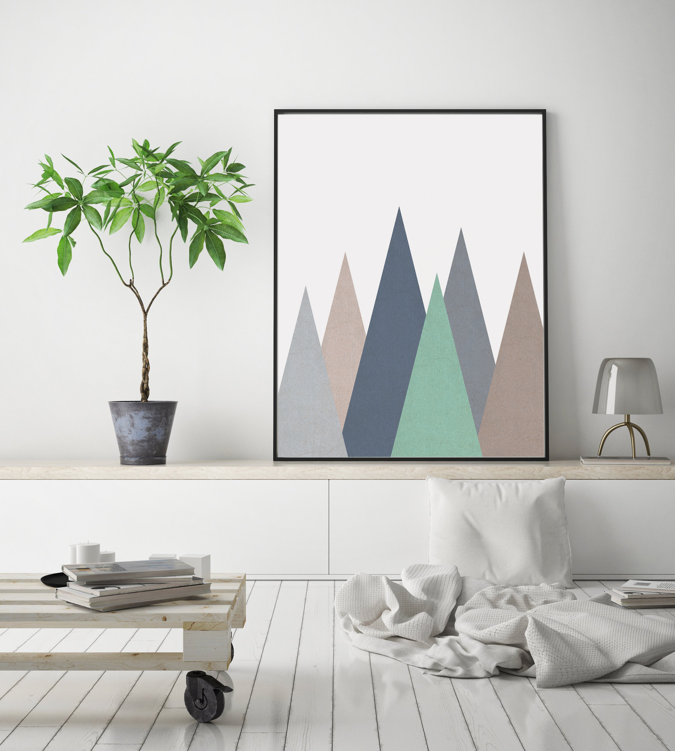 Geometric Mountain Print, Nursery Mountain Wall Art example image 2