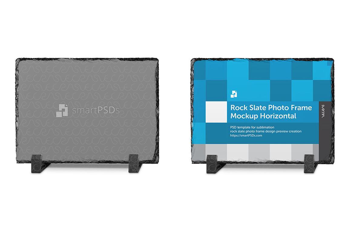Rock Slate Photo Frame Design Mockup- Horizontal 3 Views example image 1