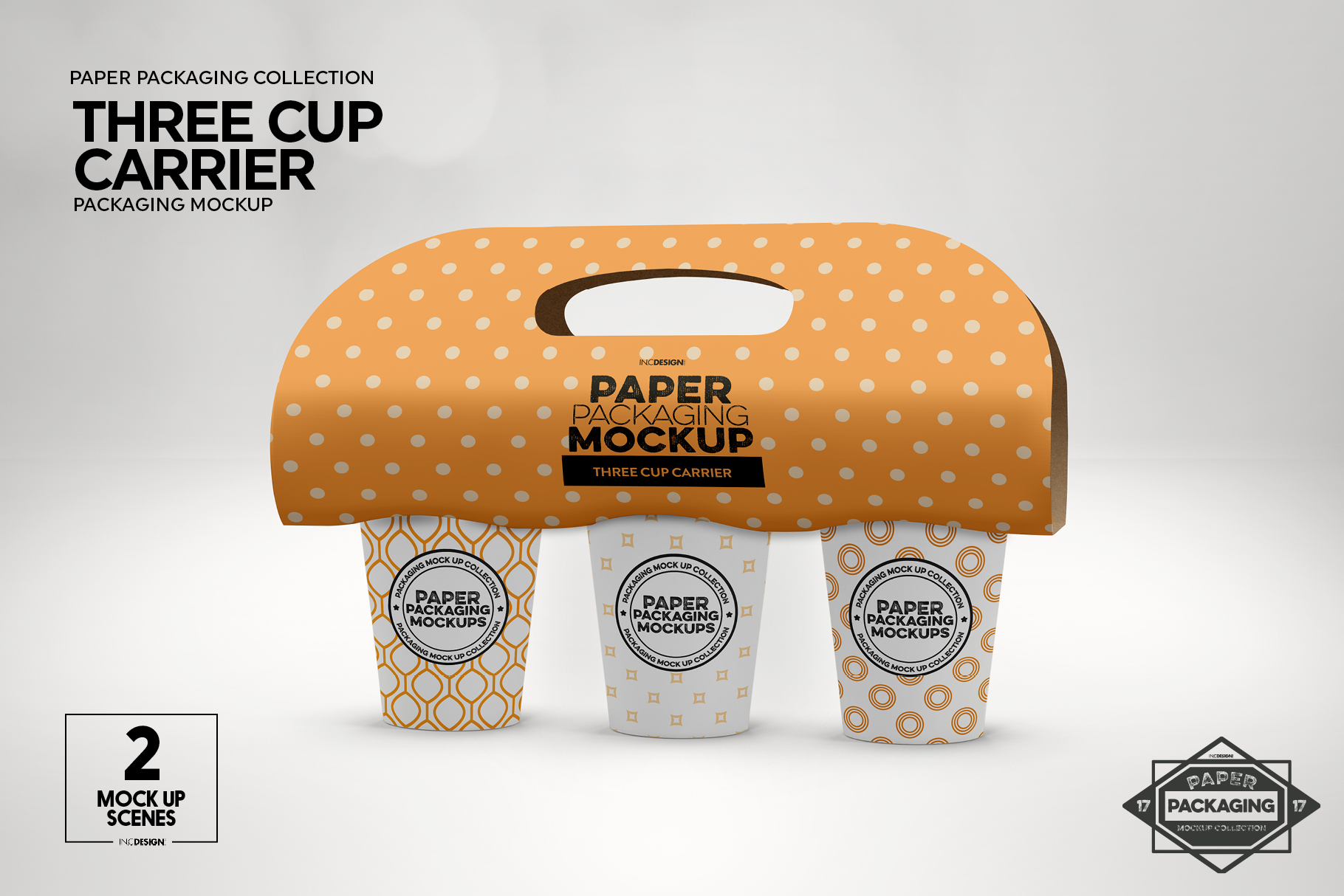 Three Cup Paper Carrier Packaging Mockup example image 6