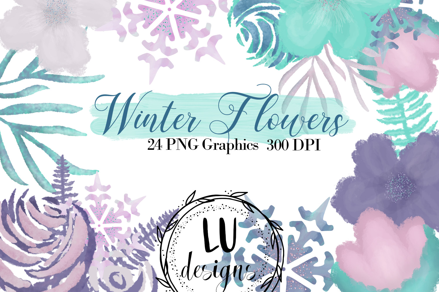 Winter Flowers Clipart, Watercolor Floral Winter Graphics example image 1