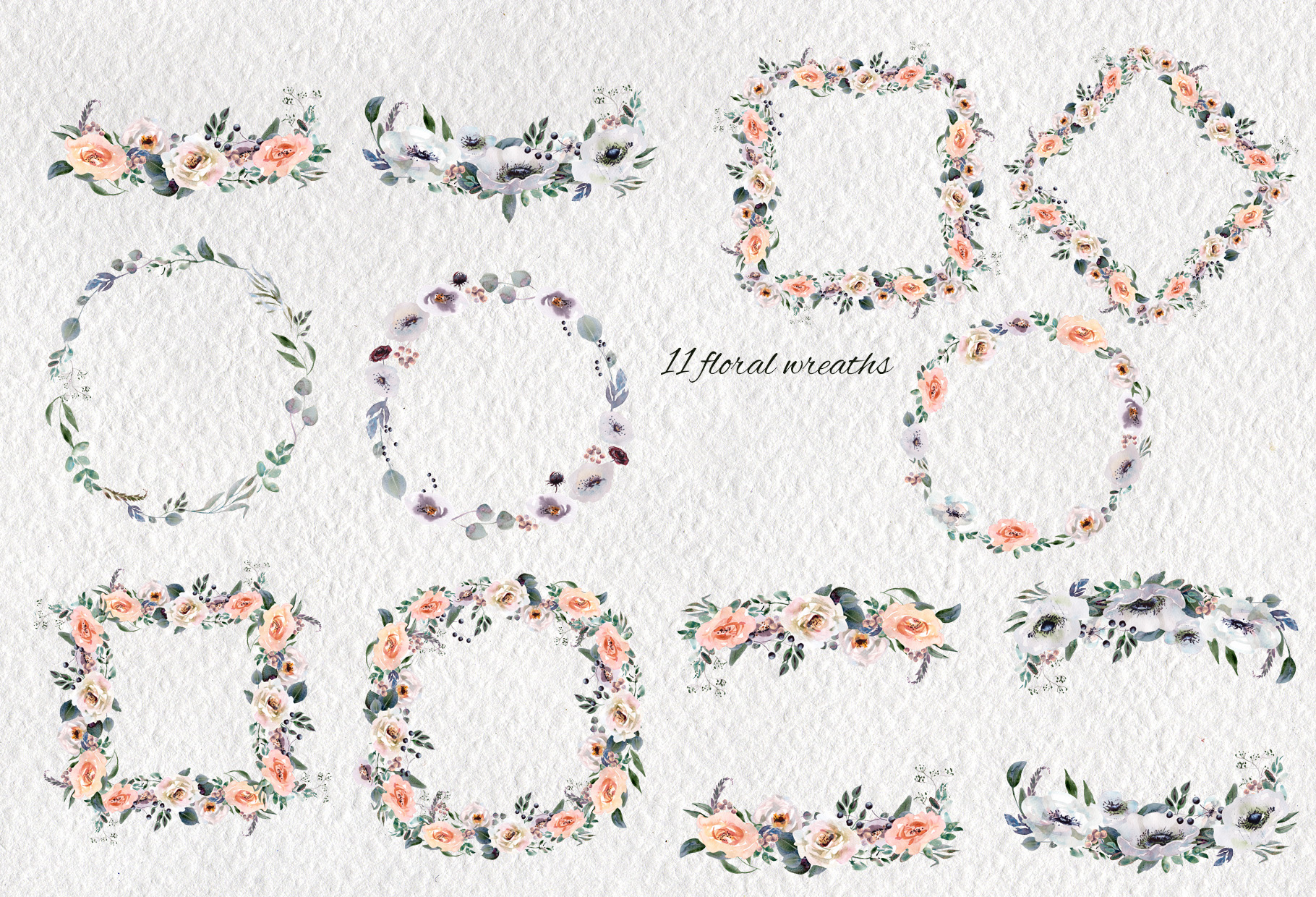 Watercolor flower design clipart example image 9