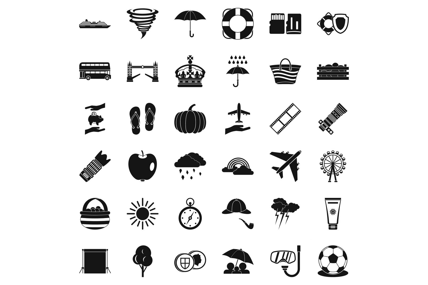 Umbrella icons set, simple style example image 1