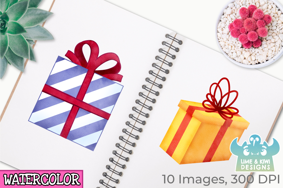 Christmas Presents Watercolor Clipart, Instant Download example image 3