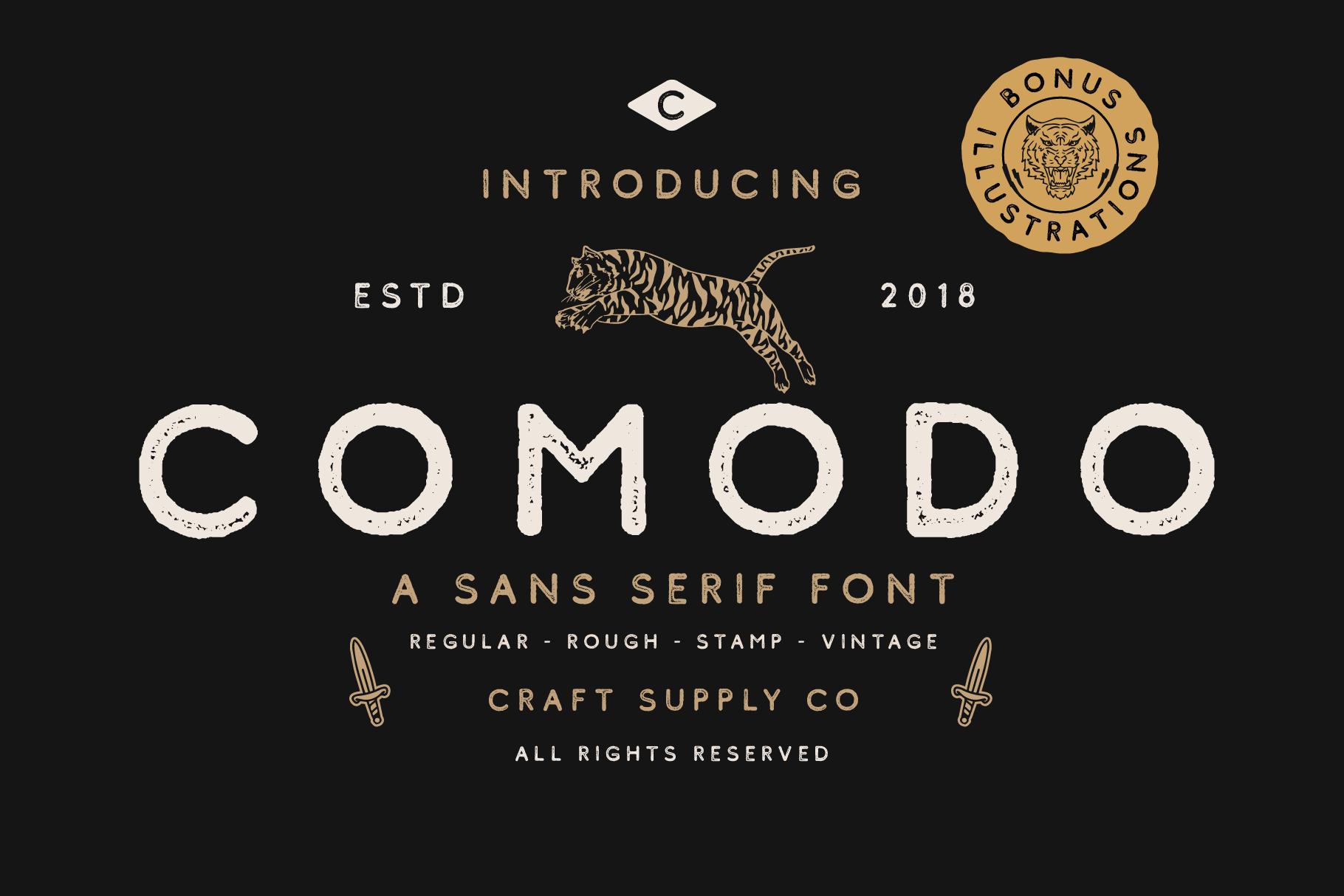 Comodo Font Family BONUS Illustrations example image 1