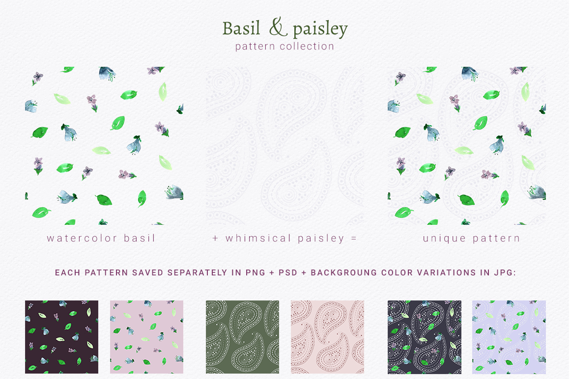 Basil & Paisley - pattern collection example image 3