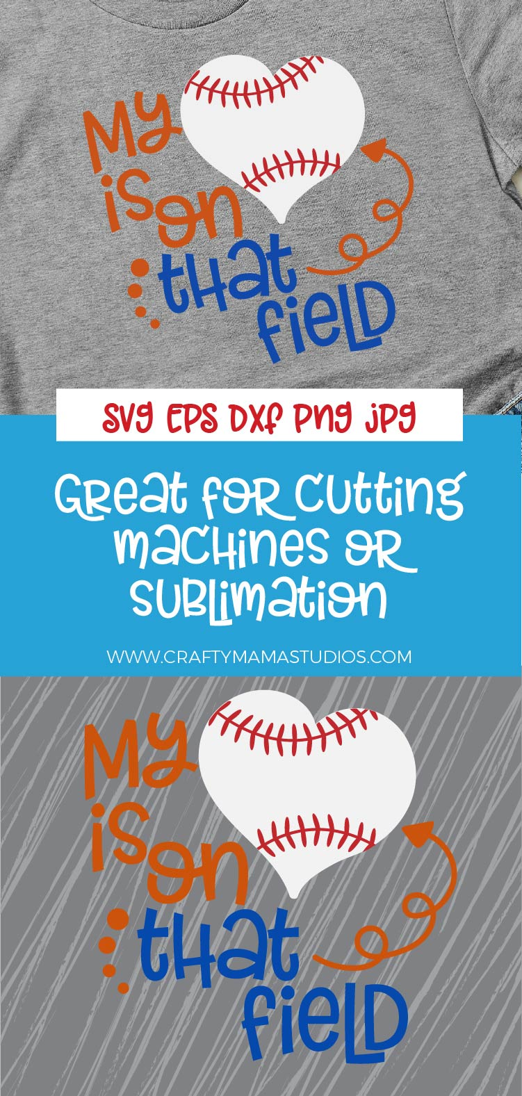 Baseball Mom SVG, My Heart Is On That Field SVG, Baseball example image 3