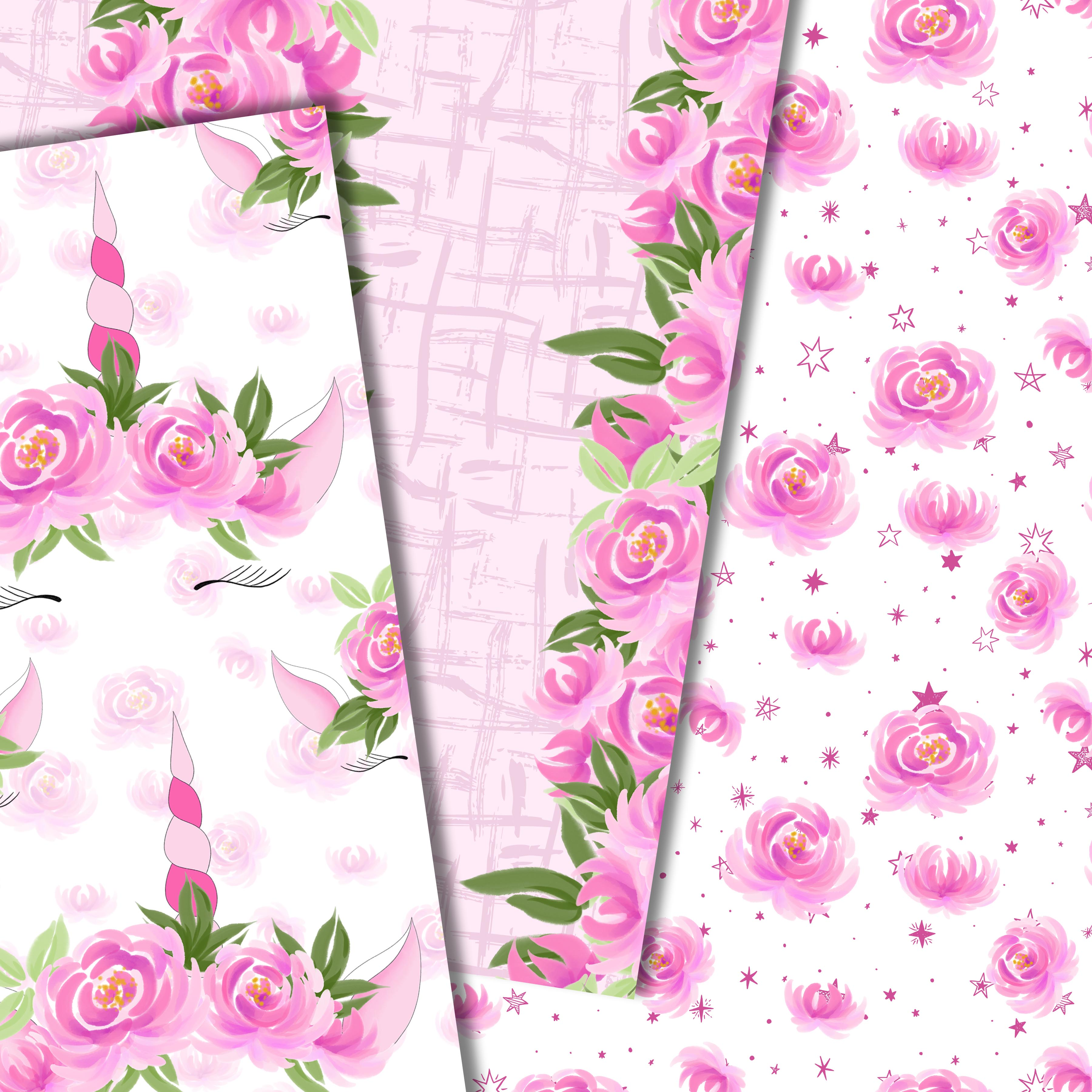 Unicorns and flowers in pink example image 3